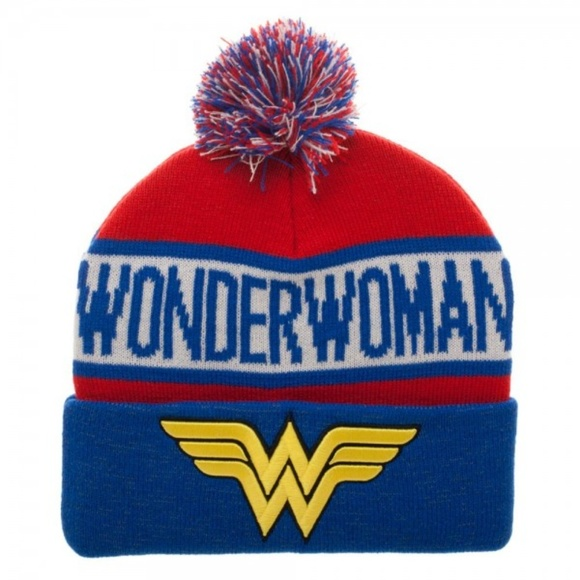 a96c555f087e6 Wonder Woman Reflective Cuff Beanie Hat DC Comics. Boutique